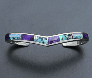 Supersmith Inc. - David Rosales Designs - Shalako Inlay & Sterling Silver Sweetheart Cuff Bracelet #24529 Style BR263 $375.00