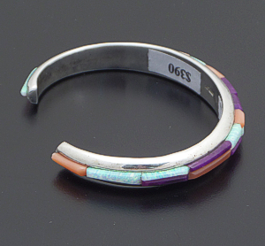 Supersmith Inc. - David Rosales Designs - Vintage Sugilite, Coral, & Opal Cobble Inlay Sterling Silver Round Cuff Bracelet #25046A $390.00