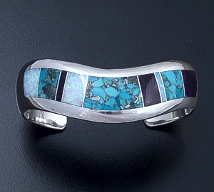 Supersmith Inc. - David Rosales Designs - Shalako Inlay & Sterling Silver Wave Cuff Bracelet #33038 Style BR803 $555.00