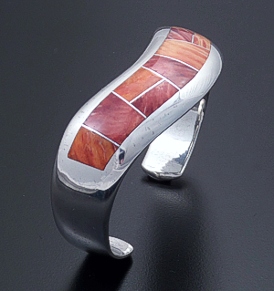 Supersmith Inc. - David Rosales Designs - Desert Fire Inlay & Sterling Silver Wave Cuff Bracelet #33050 Style BR803 $555.00
