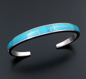Supersmith Inc. - David Rosales Designs (Navajo) - Arizona Blue Inlay & Sterling Silver Lined & Tapered Cuff Bracelet #36115 Style BR234 $395.00