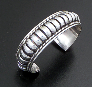 "Priscilla Apache (Navajo) - 3/4"" Wide 5 Row Center Coil Sterling Silver Cuff Bracelet #3616 $240.00"