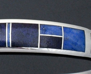Supersmith Inc. - David Rosales Designs - Blue Water Tapered Code Talker Sterling Silver Cuff Bracelet #36458 Style BR254 $320.00