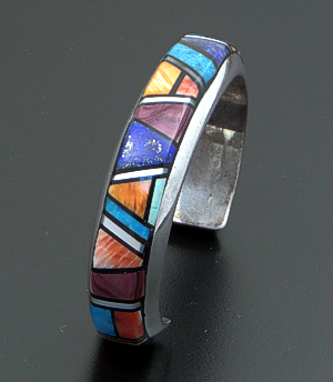 Alvin Yellowhorse (Navajo) - Vintage Multistone Inlay & Sterling Silver Beveled Cuff Bracelet #36698 $1,500.00