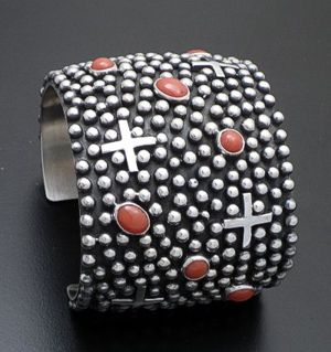 "Ronnie Willie - 2"" Coral & Sterling Silver Beaded Cuff Bracelet #37557 $1,050.00"