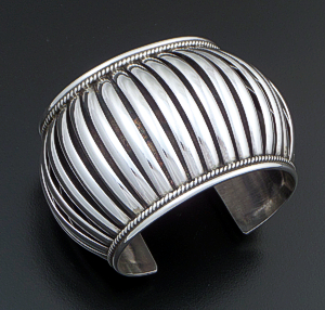 "Priscilla Apache (Navajo) - 2"" Wide 5 Row Center Coil Sterling Silver Cuff Bracelet #37572 $540.00"