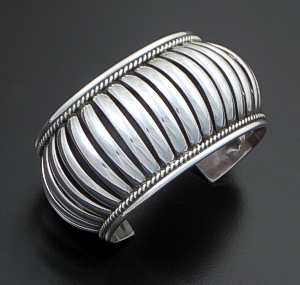 "Priscilla Apache (Navajo) - 1 1/2"" Wide 5 Row Center Coil Sterling Silver Cuff Bracelet #37573 $375.00"