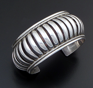 "Priscilla Apache (Navajo) - 1 1/4"" Wide 5 Row Center Coil Sterling Silver Cuff Bracelet #37574 $345.00"