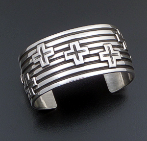 Andy Cadman (Navajo) - Wide Four Corner Sterling Silver Lined Cuff Bracelet #37790 $540.00