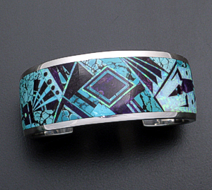 Supersmith Inc. - David Rosales Designs - Shalako Fancy Inlay & Sterling Silver Tapered Cuff Bracelet #39030 Style BR124 $2,100.00
