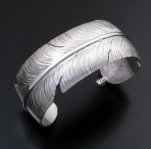 Ben Begay (Navajo) - Wide Intricate Sterling Silver Beaded Feather Cuff Bracelet #39241 $240.00