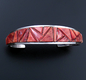 Navajo - Tapered Red Shell Inlay & Sterling Silver Cuff Bracelet #39323 $225.00