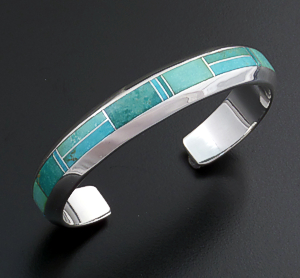 Supersmith Inc. - David Rosales Designs - Turquoise Valley Inlay & Sterling Silver Beveled Cuff Bracelet #39385 Style BR114 $390.00