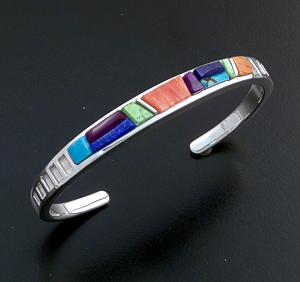 Supersmith Inc. - David Rosales Designs - Indian Summer Cobble Inlay Narrow Sterling Silver Cuff Bracelet #39386 Style BR011C $300.00