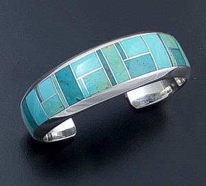 Supersmith Inc. - David Rosales Designs - Turquoise Valley Inlay & Sterling Silver Rounded Cuff Bracelet #39925 Style BR117 $600.00