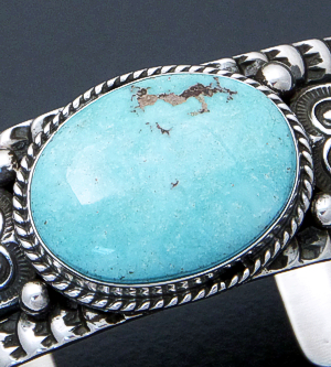 Sunshine Reeves (Navajo) - Oval Dry Creek Turquoise & Stamped Sterling Silver Cuff Bracelet #40220 $540.00