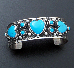 L.T. Chee (Navajo) - Turquoise Hearts & Stamped Sterling Silver Cuff Bracelet #40282 $450.00