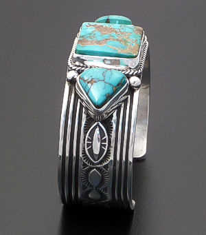 Albert Jake (Navajo) - Three Stone Pilot Mountain Turquoise & Sterling Silver Cuff Bracelet #40413 $600.00