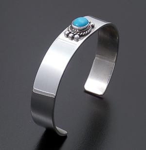 L.T. (Leonard) Chee (Navajo) - Sleeping Beauty Turquoise & High Polish Sterling Silver Cuff Bracelet #40445 $145.00