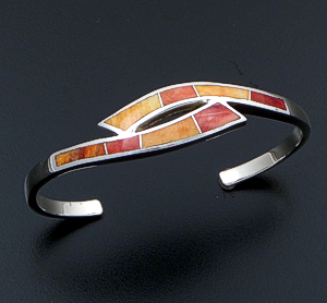 Supersmith Inc. - David Rosales Designs (Navajo) - Desert Fire Inlay & Sterling Silver Double Ribbon Cuff Bracelet #40454 Style BR214 $290.00