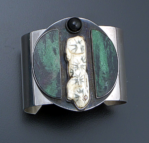 Amy Kahn Russell - Vintage Serpentine, Onyx, & Carved Bone Sterling Silver Rabbit Cuff Bracelet #40508 $700.00