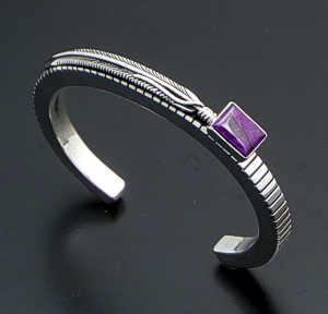 Harvey Mace (Navajo) - Vintage Sugilite & Sterling Silver Lined Square Wire Feather Cuff Bracelet #40925 $350.00