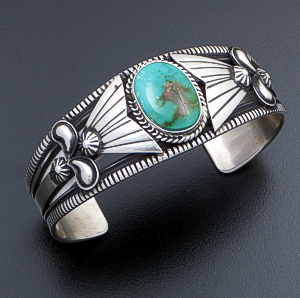 Derrick Gordon (Navajo) - Green Pilot Mountain Turquoise & Stamped Sterling Silver Appliqué Cuff Bracelet #41115 $540.00