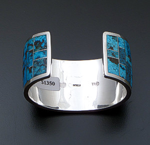 Supersmith Inc. - David Rosales Designs - Wide Kingman Turquoise Inlay & Sterling Silver Cuff Bracelet #41147 Style BR125 $1,350.00