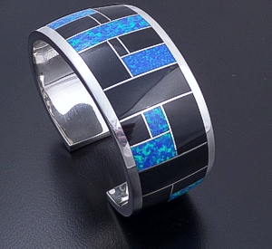 Supersmith Inc. - David Rosales Designs - Black Beauty Inlay & Sterling Silver Tapered Cuff Bracelet #41179 Style BR124 $855.00