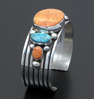 Albert Jake (Navajo) - Five Stone Orange Shell & Turquoise Lined Sterling Silver Cuff Bracelet #41427 $570.00