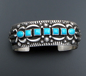 Darryl Becenti (Navajo) - Seven Stone Blue Turquoise & Oxidized Sterling Silver Appliqué Domed Cuff Bracelet #41598 $660.00