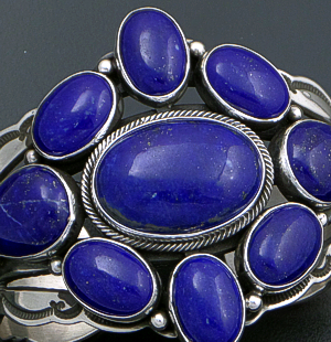 Aaron Toadlena (Navajo) - Eleven Stone Lapis & Stamped Sterling Silver Cluster Cuff Bracelet #41821 $900.00