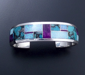 Supersmith Inc. - David Rosales Designs - Shalako Inlay & Sterling Silver Wide Cuff Bracelet #4189 Style BR119 $660.00