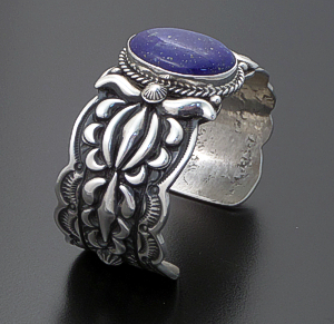 Darryl Becenti (Navajo) - Oval Lapis Lazuli & Sterling Silver Appliqué & Stamped Cuff Bracelet #42025 $645.00