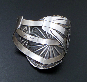 T. Jon (Navajo) - Large Turquoise Accented Satin Finished Sterling Silver Concho Cuff Bracelet #42719 $575.00