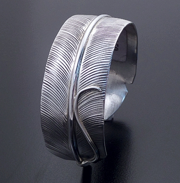 Darlene Begay (Navajo) - Intricate Sterling Silver Feather Cuff Bracelet #42721 $150.00
