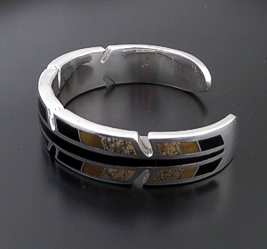 Supersmith Inc. - David Rosales Designs (Navajo) - Native Earth Inlay & Sterling Silver Modern Feather Cuff Bracelet #42769 BR3006 $750.00