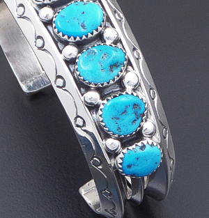 Sarah Curley (Navajo) - 9 Stone Sleeping Beauty Turquoise & Sterling Silver Stamped Tri-wire Cuff Bracelet #42828 $450.00