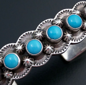Navajo - Seven Stone Turquoise & Sterling Silver Stamped & Scalloped Cuff Bracelet #42914 $395.00