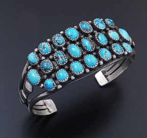 Verdy Jake (Navajo) - Twenty-two Stone Turquoise & Sterling Silver Beaded Split Wire Cuff Bracelet #42915 $540.00