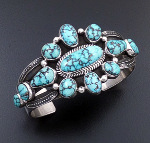 Derrick Gordon (Navajo) - Turquoise Mountain Turquoise & Sterling Silver Thirteen Stone Cluster Cuff Bracelet #43014 $900.00