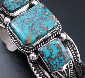 Darrell Cadman (Navajo) - Three Stone Turquoise & Sterling Silver Stamped and Scalloped Cuff Bracelet #43015 $790.00
