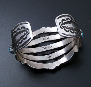 Aaron Toadlena (Navajo) - Turquoise Mountain Turquoise & Sterling Silver Stamped Cluster Cuff Bracelet #43018 $1,080.00