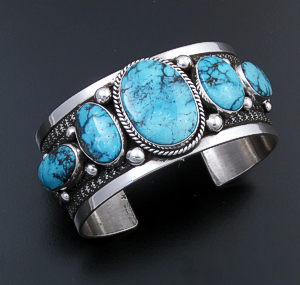 Guy Hoskie (Navajo) - Five Stone Ithaca Peak Turquoise & Sterling Silver Stamped Cuff Bracelet #43645 $1,025.00