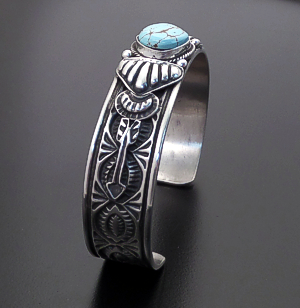 Tsosie Orville White (Navajo) - #8 Turquoise & Sterling Silver Stamped Cuff Bracelet #43709 $390.00