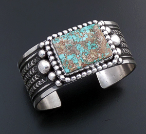 Guy Hoskie (Navajo) - Royston Turquoise & Sterling Silver Beaded & Stamped Cuff Bracelet #43725 $600.00