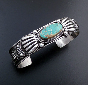 Tsosie Orville White (Navajo) - Royston Turquoise & Sterling Silver Stamped Cuff Bracelet #43726 $350.00