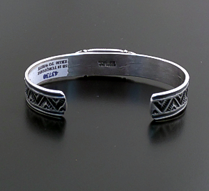Tsosie Orville White (Navajo) - Narrow Turquoise & Sterling Silver Stamped Cuff Bracelet #43730 $255.00