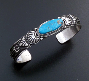 Tsosie Orville White (Navajo) - Narrow Turquoise & Sterling Silver Stamped Cuff Bracelet #43735 $270.00