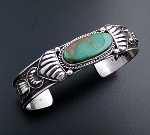 Tsosie Orville White (Navajo) - Royston Turquoise & Sterling Silver Stamped Cuff Bracelet #43740 $375.00